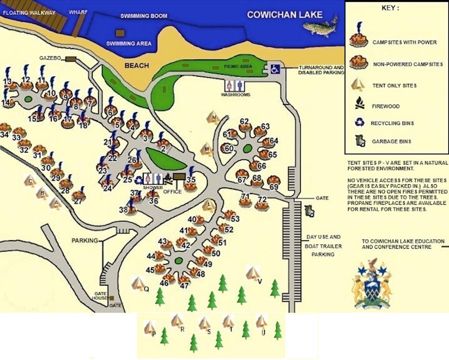 cowichan lake camping map Lakeview Park Campground Travel British Columbia cowichan lake camping map